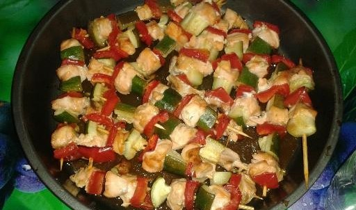 Brochettes de saumon et légumes (2 personnes)