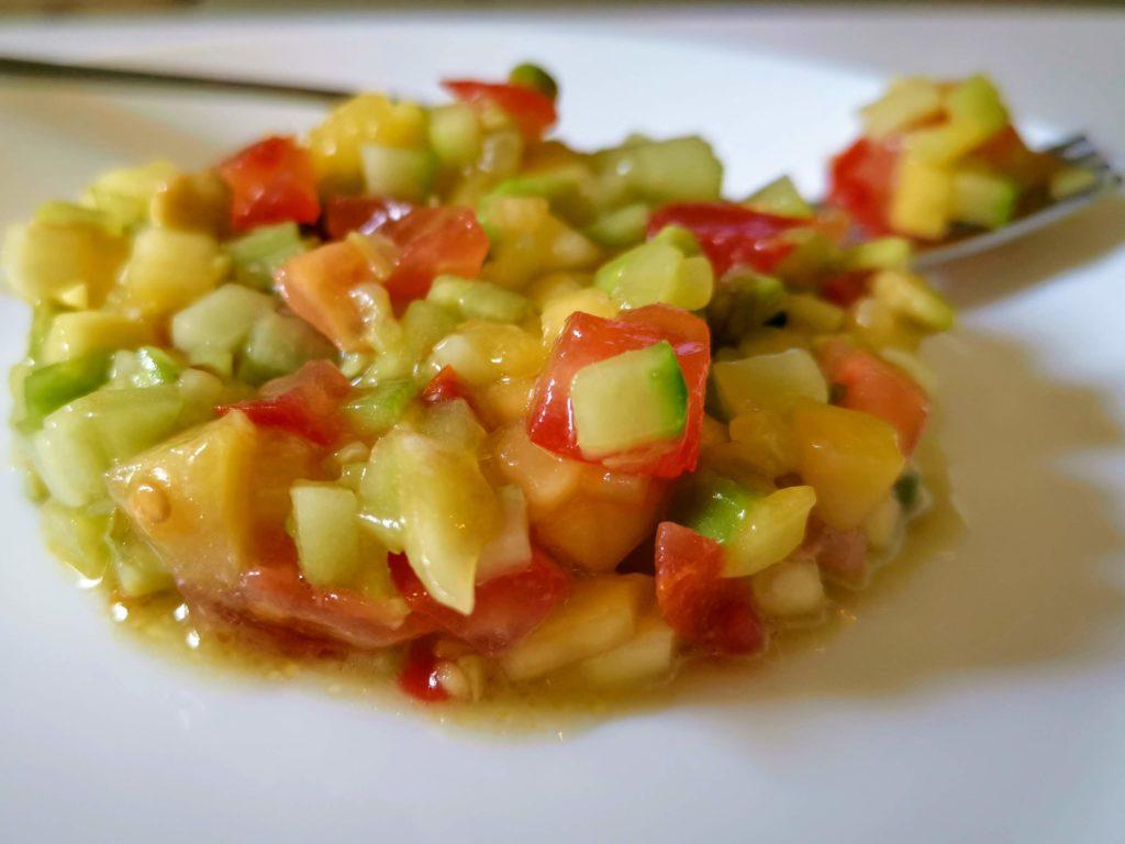 Tartare concombre mangue
