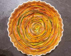 Tarte spirale salée aux légumes et jambon